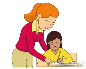 helping student in study clipart